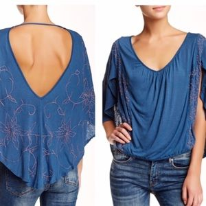 Free People Embroidered Cape Top